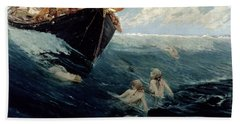 The Mermaid's Rock Beach Towel by Edward Matthew Hale