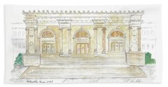 The Met In Watercolor - Large File Original Beach Towel