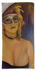 Beach Sheet featuring the painting The Mirror And The Mask Portrait Of Kelly Phebus by Ron Richard Baviello