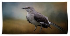 Beach Towel featuring the photograph The Mockingbird A Bird Of Many Songs by David and Carol Kelly