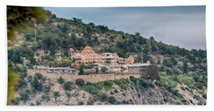 Beach Towel featuring the photograph The Monastery Of Archangel Michael, Thasos, Greece by Jivko Nakev