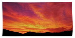 The Morning Sky Ablaze Beach Towel