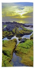 Beach Sheet featuring the photograph The Mossy Rocks At Sunset by Tara Turner
