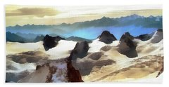 Beach Towel featuring the painting The Mountain Paint by Odon Czintos