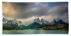 Beach Towel featuring the photograph The Mountains On The Lake by Andrew Matwijec