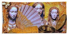 Beach Towel featuring the mixed media The Mystery by Gail Kirtz