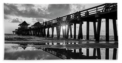 Naples Pier At Sunset Naples Florida Black And White Beach Towel