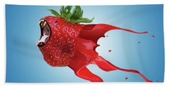 Beach Towel featuring the photograph The New Gmo Strawberry by Juli Scalzi