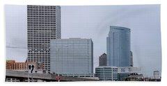 Beach Towel featuring the photograph The New Milwaukee Skyline by Randy Scherkenbach