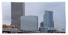 Beach Sheet featuring the photograph The New Milwaukee Skyline by Randy Scherkenbach