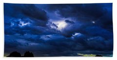 The Night Of The Storm Beach Sheet by Mark Blauhoefer