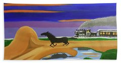 Beach Towel featuring the painting The Night Race by Margaret Harmon