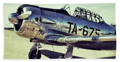 The North American Aviation T-6 Texan Plane Color Edition Beach Towel by Tony Grider