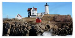 The Nubble Lighthouse  Beach Towel