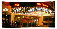 The Ohio Theater At Night Beach Sheet