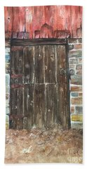 Beach Towel featuring the painting The Old Barn Door by Lucia Grilletto