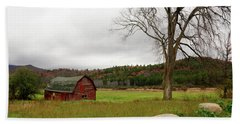 The Old Barn With Tree Beach Towel