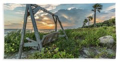 Beach Towel featuring the photograph The Old Beach Swing -  Sullivan's Island, Sc by Donnie Whitaker