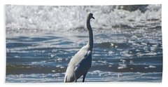 Egret And The Waves Beach Towel