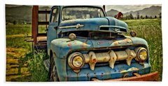 The Blue Classic 48 To 52 Ford Truck Beach Sheet by Thom Zehrfeld