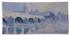 The Old Bridge Of Maastricht In Morning Fog Beach Sheet by Nop Briex