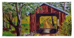 The Old Covered Bridge Beach Towel by Mike Caitham