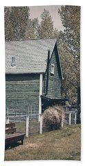 The Old Green Barn Beach Towel by Maria Angelica Maira