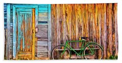Beach Towel featuring the painting The Old Green Bicycle by Edward Fielding