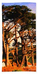 The Old Grove At The Ranch At Sunset . 40d4531 . Painterly Beach Towel