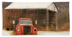 Beach Towel featuring the photograph The Old Lumber Truck by Lori Deiter