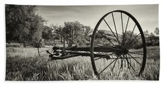 The Old Mower 2 In Black And White Beach Towel by Endre Balogh