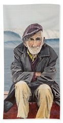 Beach Towel featuring the painting The Old Waterman by Kevin Daly