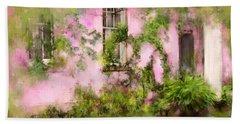 The Olde Pink House In Savannah Georgia Beach Towel