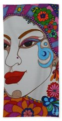 Beach Towel featuring the painting The Opera Singer by Alison Caltrider