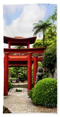 The Oriental Gate To Happiness Beach Sheet