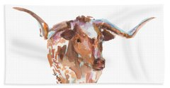 The Original Longhorn Standing Earth Quack Watercolor Painting By Kmcelwaine Beach Towel