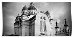 The Orthodox Cathedral And The Saint John The Baptist Church Beach Sheet