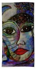 Beach Towel featuring the mixed media The Other by Mimulux patricia No