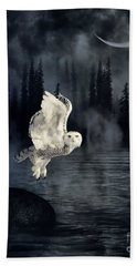 The Owl And Her Mystical Moon Beach Towel by Heather King