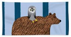 The Owl And The Bear Beach Towel
