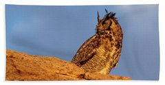 The Owl's Horns In The Breeze Beach Sheet by Natalie Ortiz
