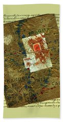 Beach Towel featuring the mixed media The Package by P J Lewis