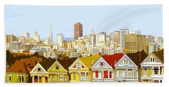 The Painted Ladies In San Francisco California Beach Towel