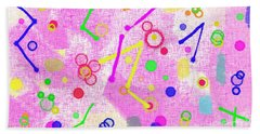 Beach Towel featuring the digital art The Party Is Here by Silvia Ganora