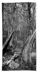 The Path Through The Woods Bandw Beach Towel