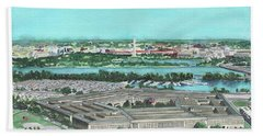 Beach Towel featuring the painting The Pentagon by Betsy Hackett