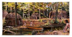 Beach Towel featuring the painting The Pequots by Nancy Griswold