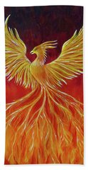 Beach Sheet featuring the painting The Phoenix by Teresa Wing