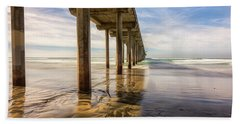 The Pier And Its Shadow Beach Towel by Joseph S Giacalone