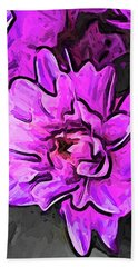The Pink And Lavender Flowers On The Grey Surface Beach Towel